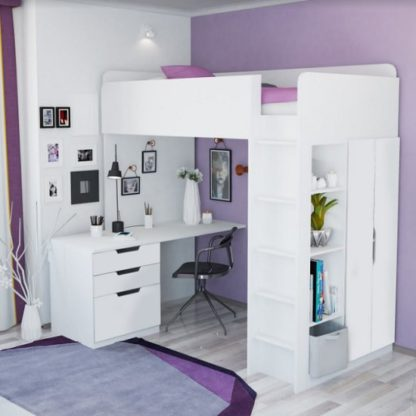 An Image of Belfort Contemporary High Sleeper Bed In White