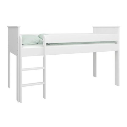 An Image of Alba Wooden Children Mid Sleeper Bed In White