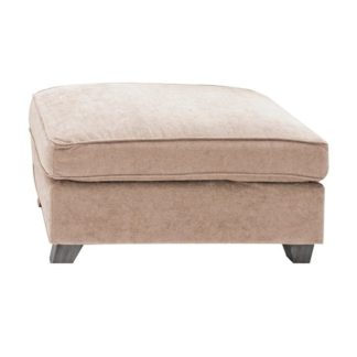An Image of Barresi Chenille Fabric Ottoman In Almond With Wooden Legs