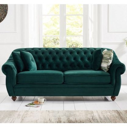 An Image of Sylvan Chesterfield Fabric 3 Seater Sofa In Green Plush