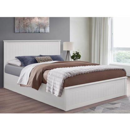 An Image of Fairmont Ottoman Wooden King Size Bed In White