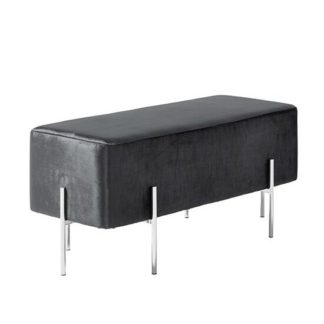 An Image of Ryman Bench In Black Velvet And Polished Stainless Steel