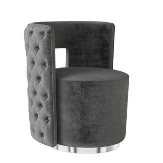 An Image of Tamara Velvet Fabric Swivel Lounge Chair In Dark Grey