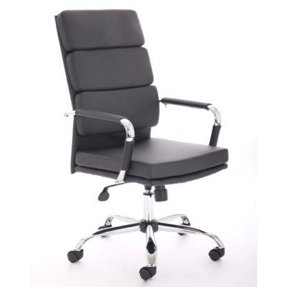 An Image of Advocate Leather Executive Office Chair In Black With Arms