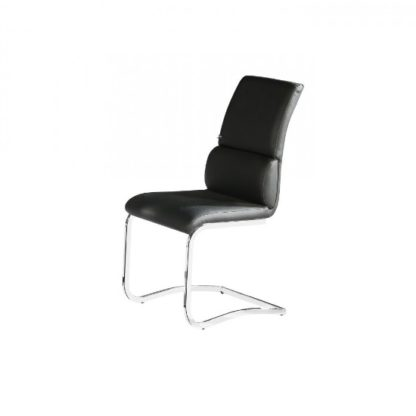 An Image of Fairmont Dining Chair In Black Faux Leather With Chrome Base