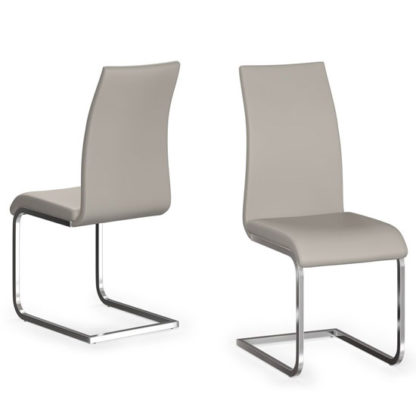 An Image of Paolo Cream Faux Leather Dining Chair In A Pair