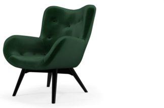 An Image of Custom MADE Doris Accent Armchair, Bottle Green Velvet with Black Wood Leg