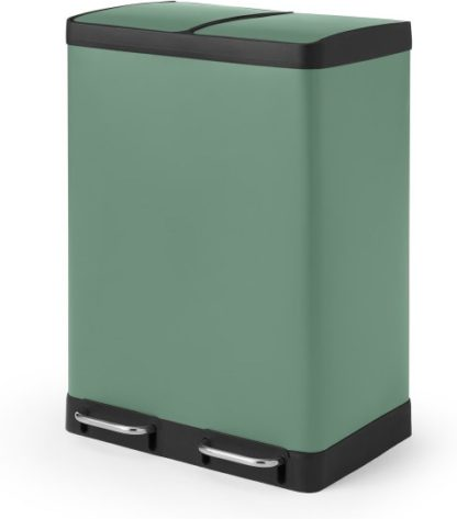 An Image of Colter 60L, Soft Close Double Recycling Pedal Bin x2 30L, Sage Green