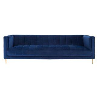 An Image of Macondo Velvet 3 Seater Sofa In Deep Blue
