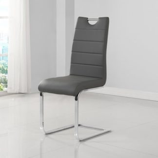An Image of Petra Faux Leather Dining Chair In Grey