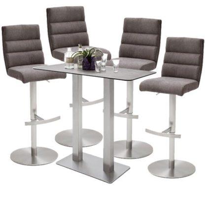 An Image of Soho Glass Bar Table With 4 Hiulia Brown Fabric Stools