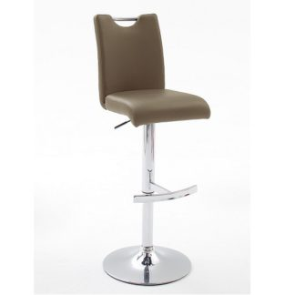 An Image of Aachen Bar Stool In Cappuccino Faux Leather With Chrome Base