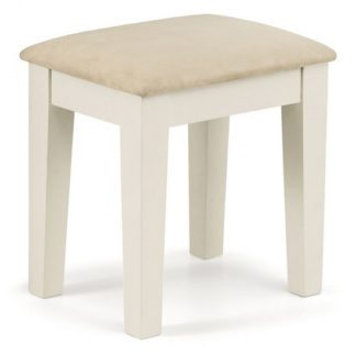 An Image of Atsabe Faux Suede Dressing Stool In Stone White Lacquer