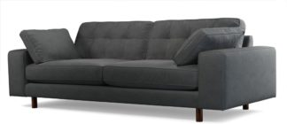 An Image of Content by Terence Conran Tobias, 3 Seater Sofa, Plush Shadow Grey Velvet, Dark Wood Leg