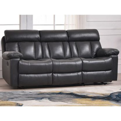An Image of Ohio Recliner Bonded Faux Leather 3 Seater Sofa In Grey