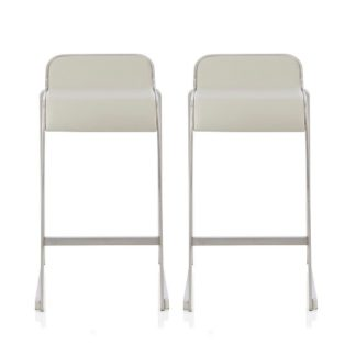An Image of Pressley Bar Stool In Grey Faux Leather In A Pair