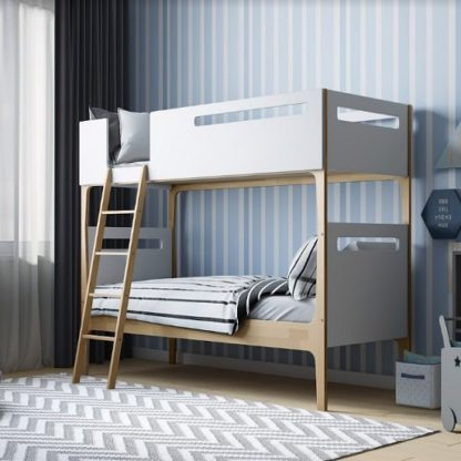 An Image of Fremont Contemporary Wooden Bunk Bed In White