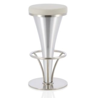 An Image of Romania Bar Stool In Grey Faux Leather With Stainless Steel Base