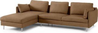 An Image of Vento 3 Seater Left Hand Facing Chaise End Sofa, Pale Tan Leather