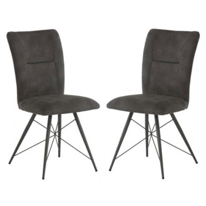 An Image of Amalfi Grey Fabric Dining Chair In A Pair