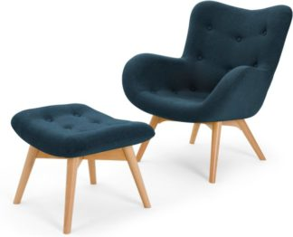 An Image of Doris Accent Armchair and Footstool, Shetland Navy