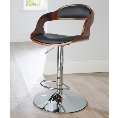 An Image of Fairmont Bar Stool In Black PU And Walnut With Chrome Base