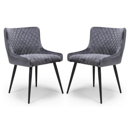 An Image of Malmo Grey Velvet Fabric Dining Chair In A Pair
