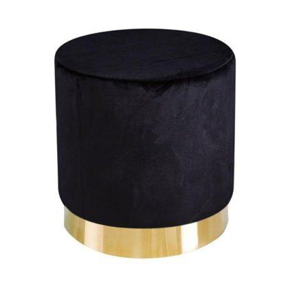 An Image of Lara Velvet Pouffe In Black