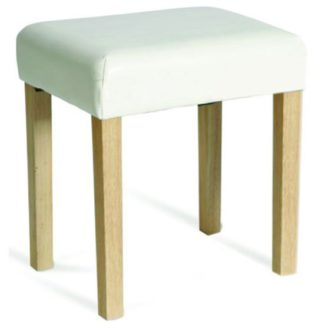 An Image of Hamilton Upholstered Stool In Ivory Faux Leather