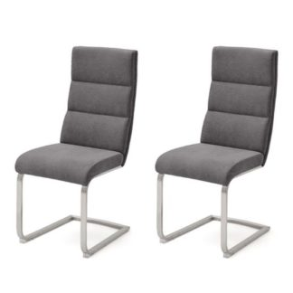 An Image of Hiulia Anthracite Fabric Cantilever Dining Chair In A Pair