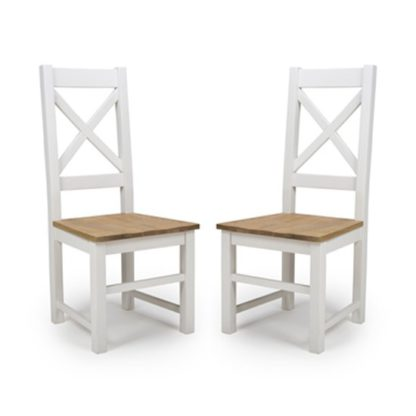 An Image of Portland Cross Back Wooden Dining Chairs In Pair
