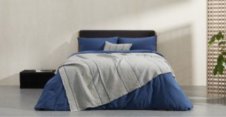 An Image of Tallis Organic Cotton Bed Throw 150 x 200cm, Indigo Blue