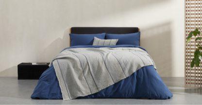 An Image of Tallis Organic Cotton Bed Throw 150 x 200cm, Indigo Blue