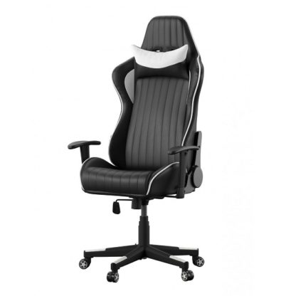 An Image of Throop Adjustable Recliner Office Chair In Black And White