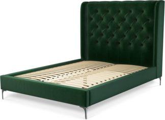 An Image of Custom MADE Romare Double Bed, Bottle Green Velvet with Nickel Legs