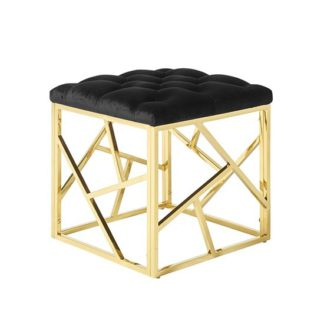 An Image of Allen Stool In Black Velvet And Gold Plated Stainless Steel Base