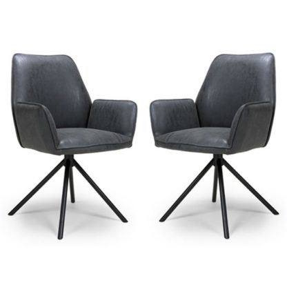 An Image of Uno Wax Grey PU Fabric Dining Chairs In A Pair