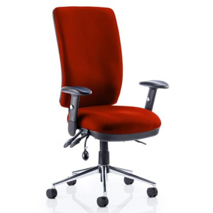 An Image of Chiro High Back Office Chair In Tobasco Red With Arms