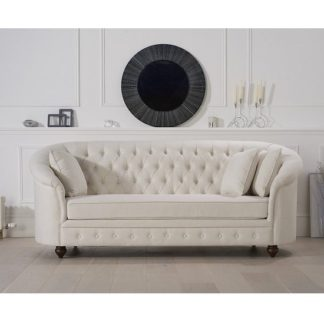 An Image of Astoria Chesterfield 3 Seater Sofa In Ivory Fabric