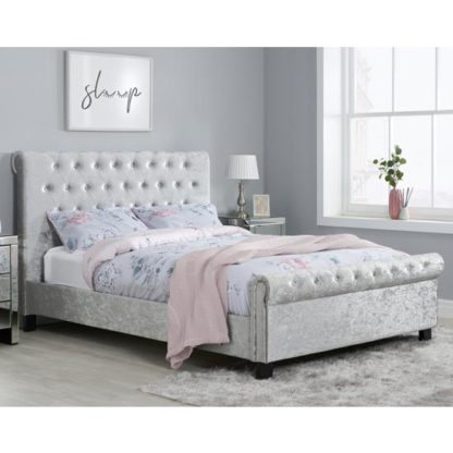 An Image of Sienna Fabric King Size Bed In Steel Crushed Velvet