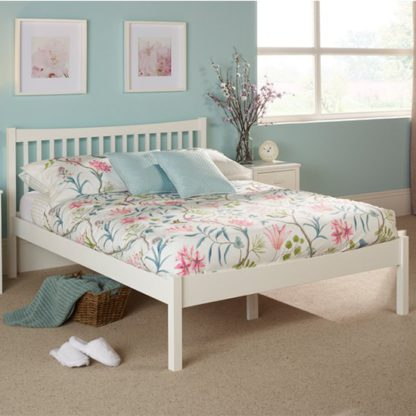 An Image of Alice Hevea Wooden Small Double Bed In Opal White