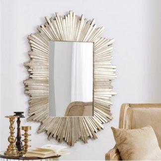 An Image of Hatfield Starburst Wall Mirror Rectangular In Dark Gold