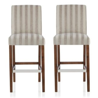 An Image of Alden Bar Stools In Silver Fabric And Walnut Legs In A Pair