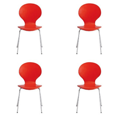 An Image of Ibiza Set Of 4 Dining Chairs In Red