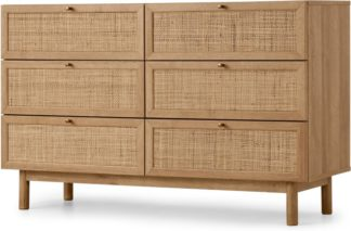 An Image of Pavia Wide Chest of Drawers, Natural Rattan & Oak Effect