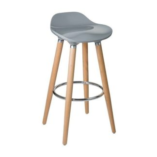 An Image of Adoni Modern Bar Stool In Grey ABS With Beechwood Legs