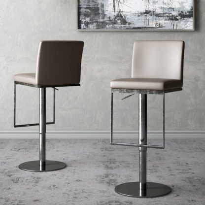 An Image of Enzo Taupe Faux Leather Gas-lift Bar Stools In Pair