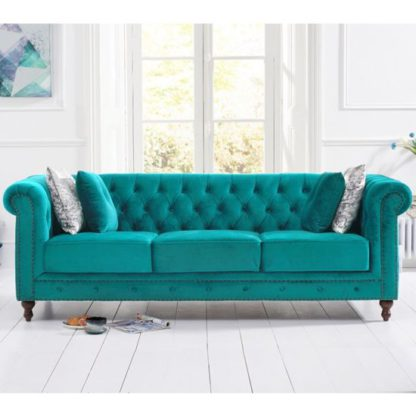 An Image of Propus Plush Fabric 3 Seater Sofa In Teal