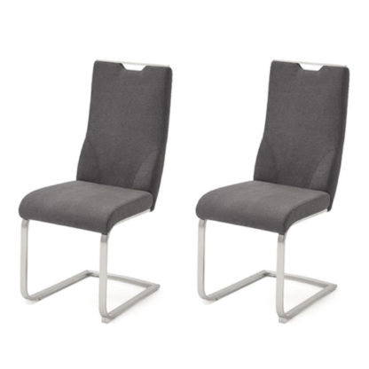 An Image of Jiulia Anthracite Fabric Cantilever Dining Chair In A Pair