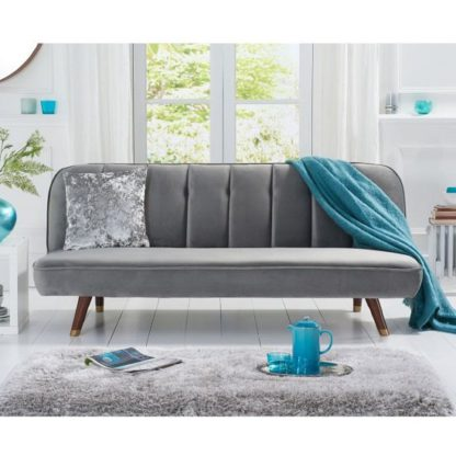 An Image of Duclos Velvet Sofa Bed In Grey With Solid Wood Legs